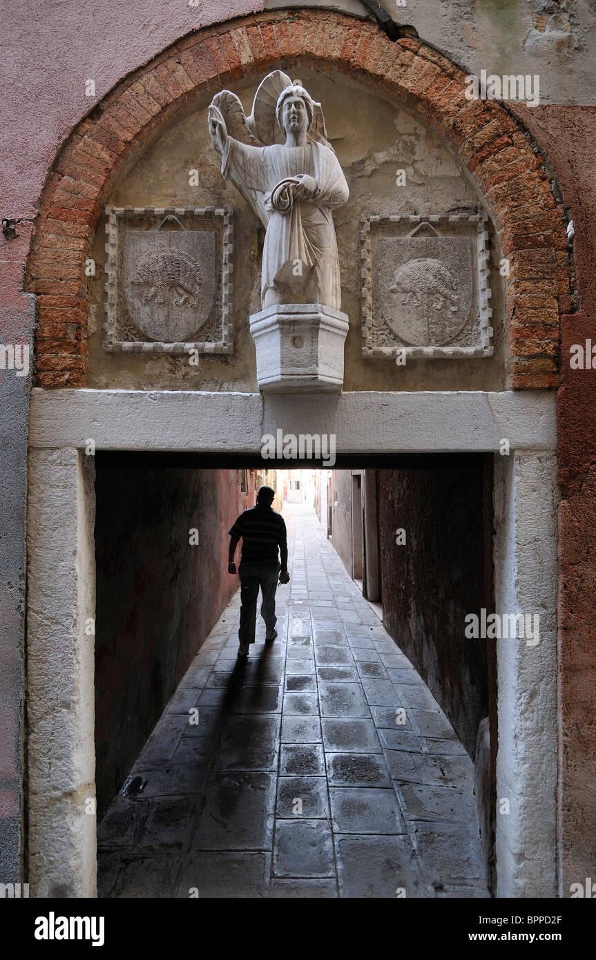Venice. Italy. Narrow Calle in Castello. - Stock Image