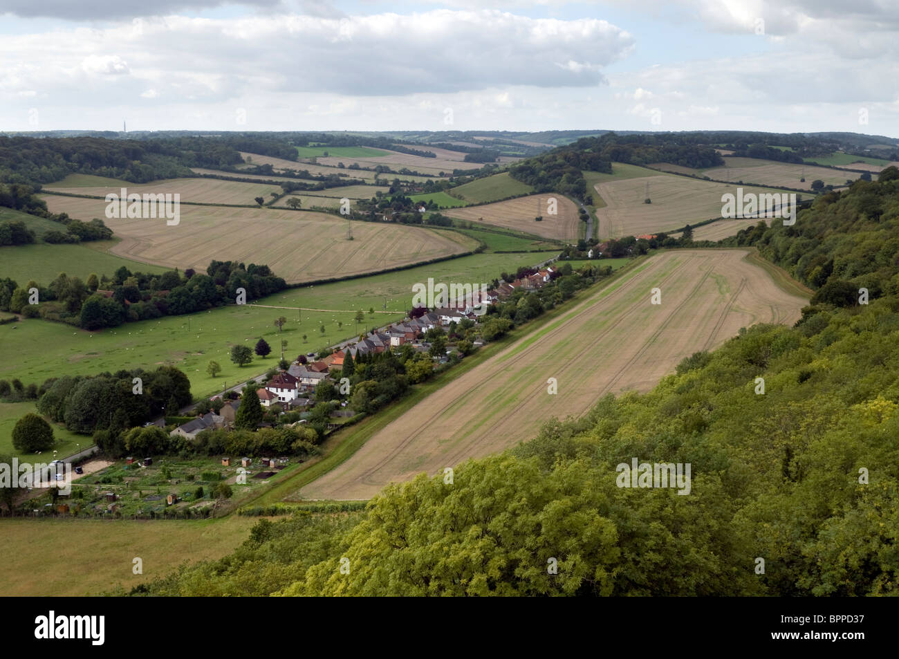 Aerial view of Chilterns countryside landscape from St Lawrence church tower West Wycombe Buckinghamshire UK - Stock Image