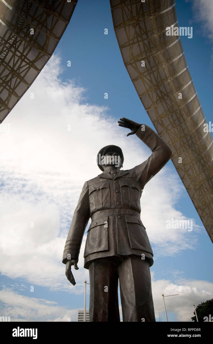 frank whittle jet engine inventor engines statue in Coventry town center centre sculpture memorial famous citizen - Stock Image