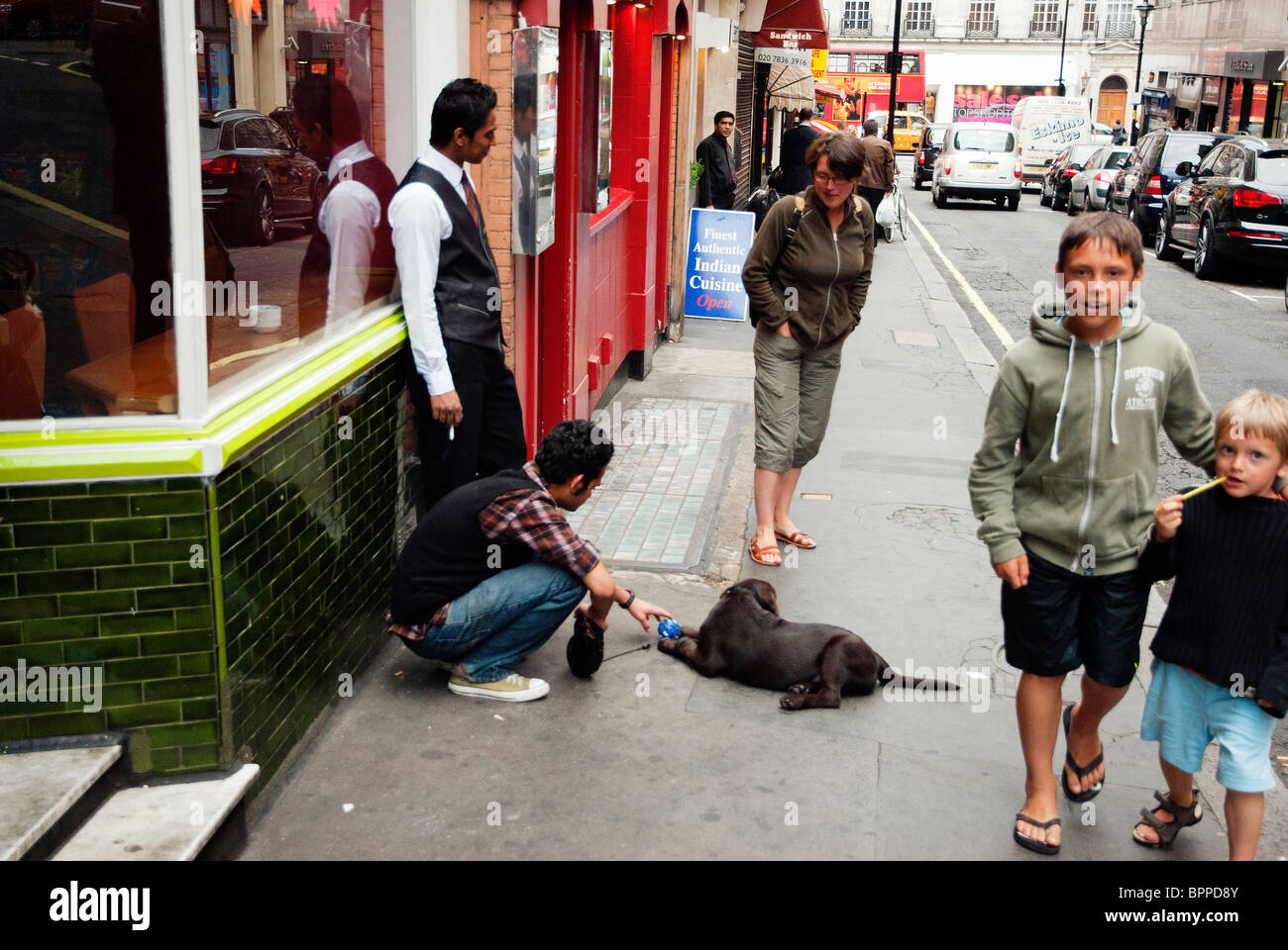 Dog being played with outside London Indian Restaurant - Stock Image