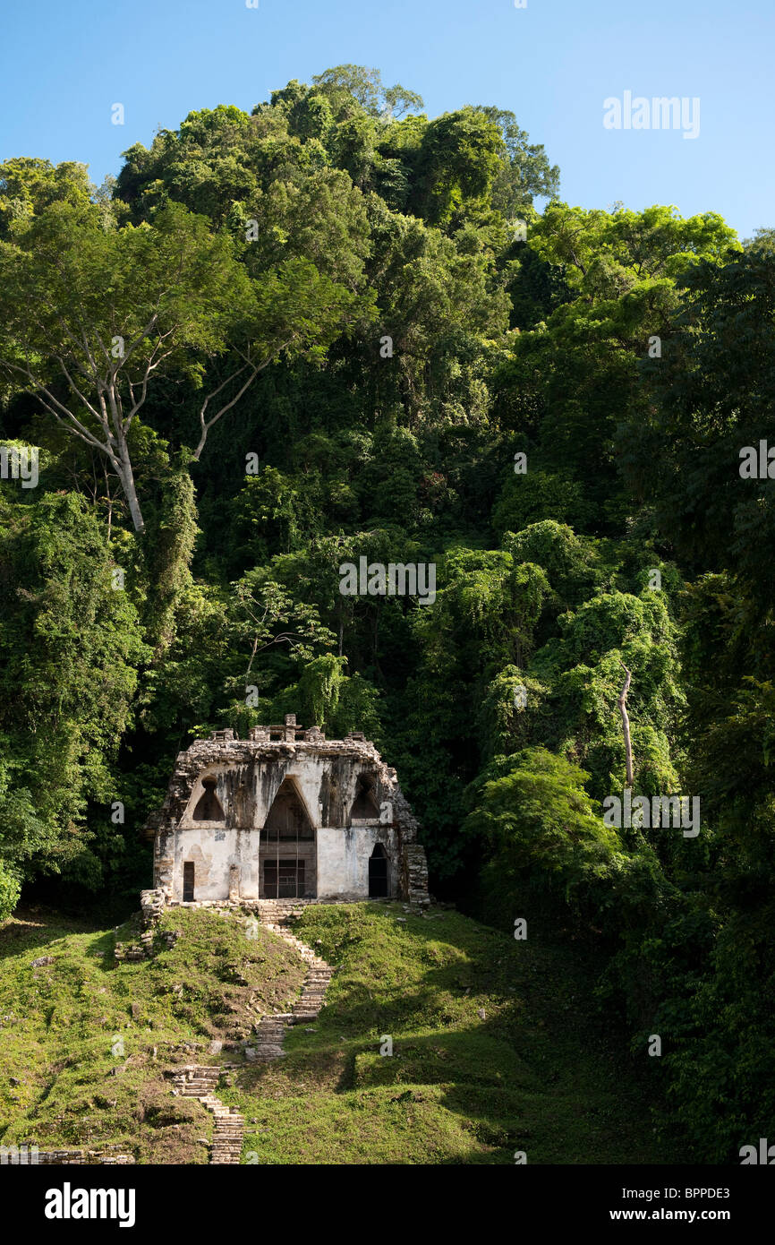 Temple of the foliated cross, Maya ruins of Palenque, Mexico - Stock Image