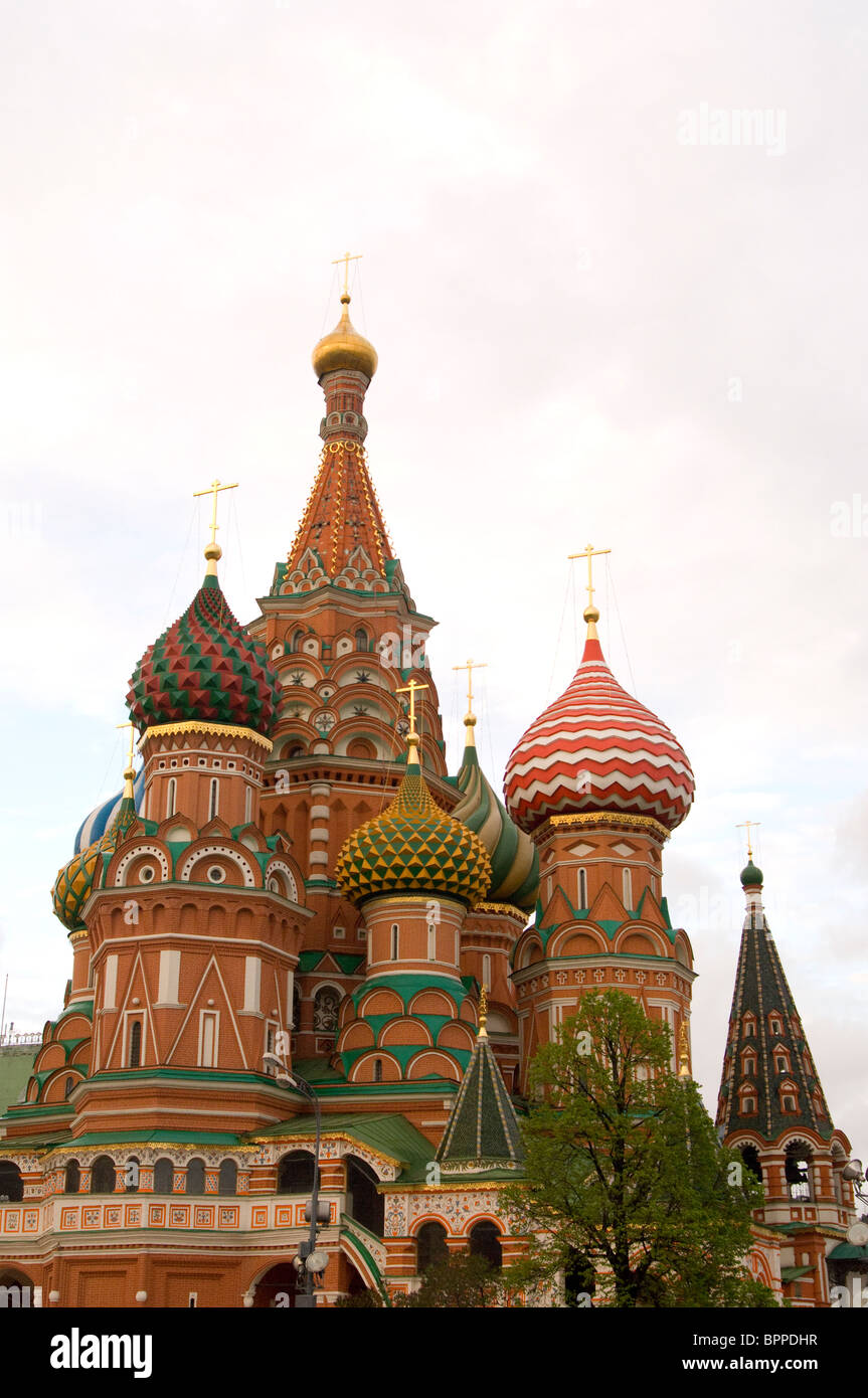 Saint Basil's Cathedral in Red Square Moscow - Stock Image