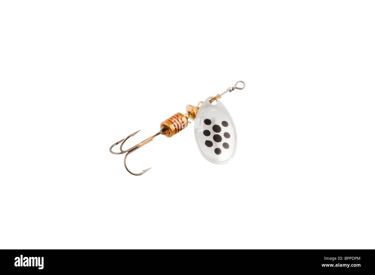 fishing tackle (spinning) isolated on a white background - Stock Image