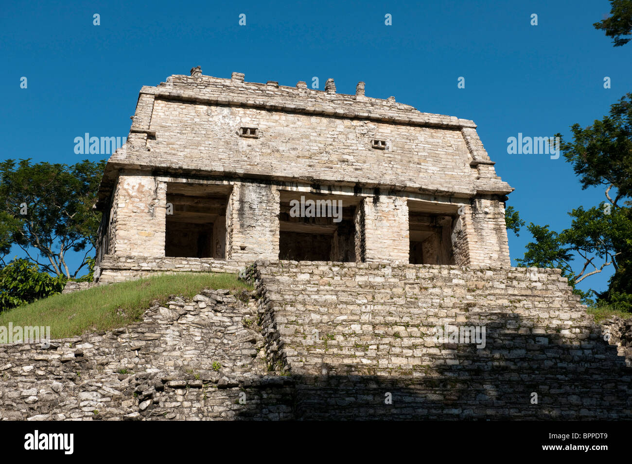 Temple of the sun, Maya ruins of Palenque, Mexico - Stock Image