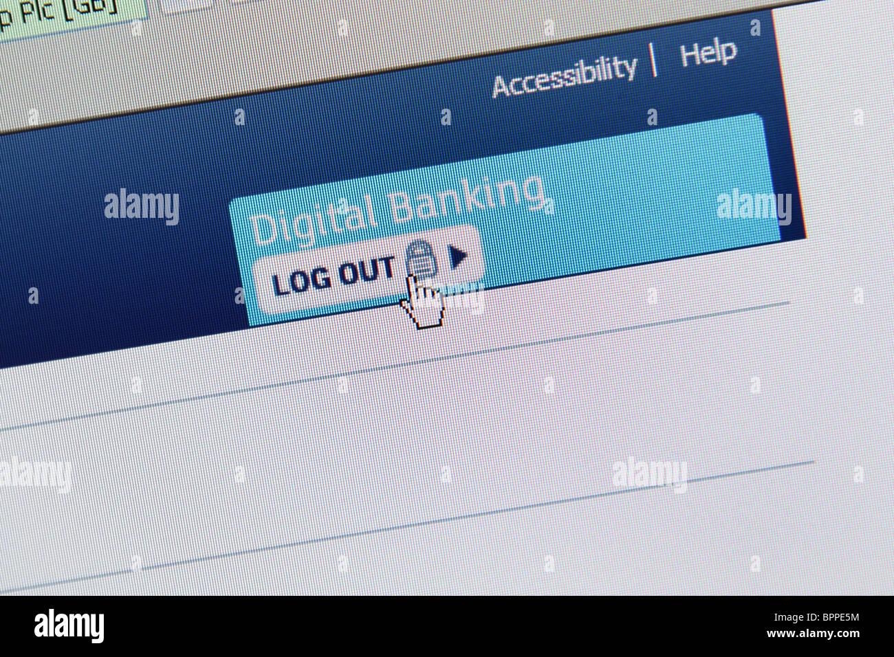 Online Digital Banking Logout - Stock Image