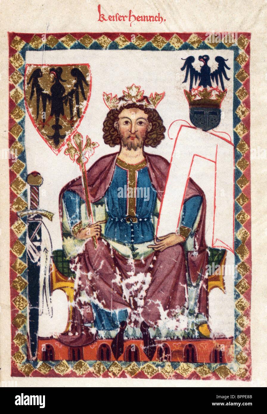 Illumination from the 14th Century Codex Manesse; Kaiser Heinrich - Stock Image