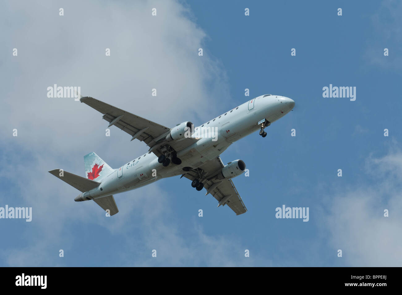 Air Canada Embraer 170-200LR on final approach to landing. Stock Photo