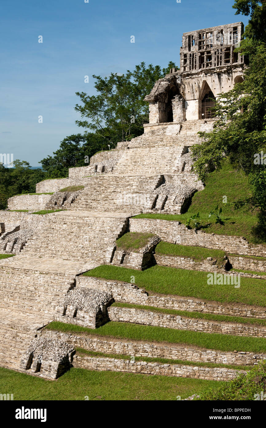 Temple of the Cross, Maya ruins of Palenque, Mexico - Stock Image