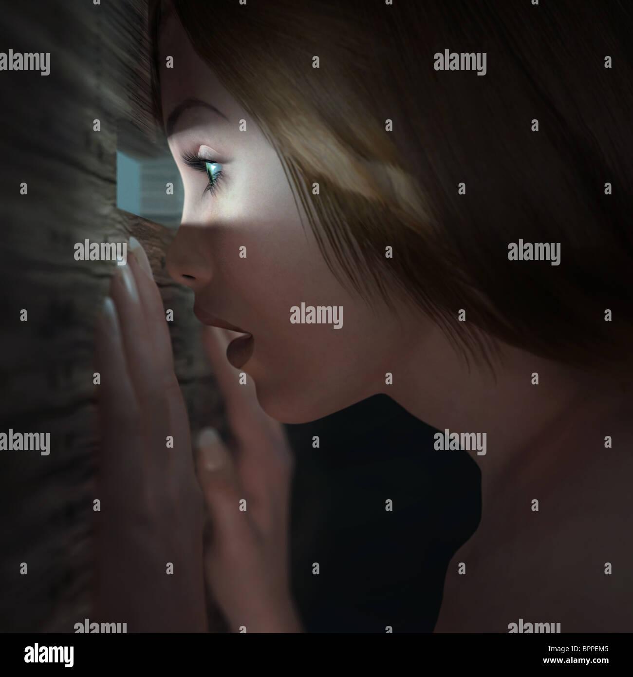 Spying woman - Stock Image
