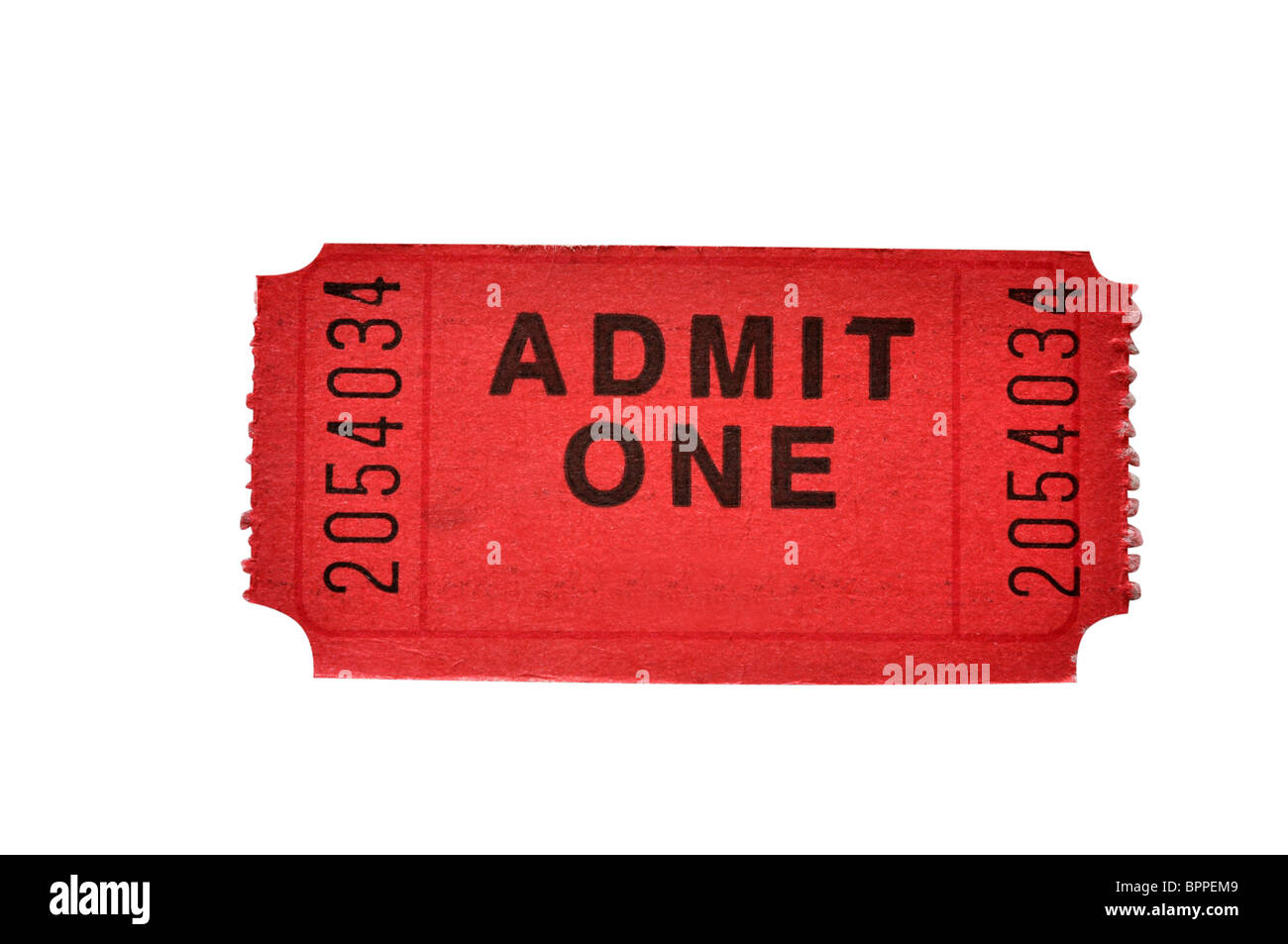 Admission ticket isolated on white background with clipping path. - Stock Image