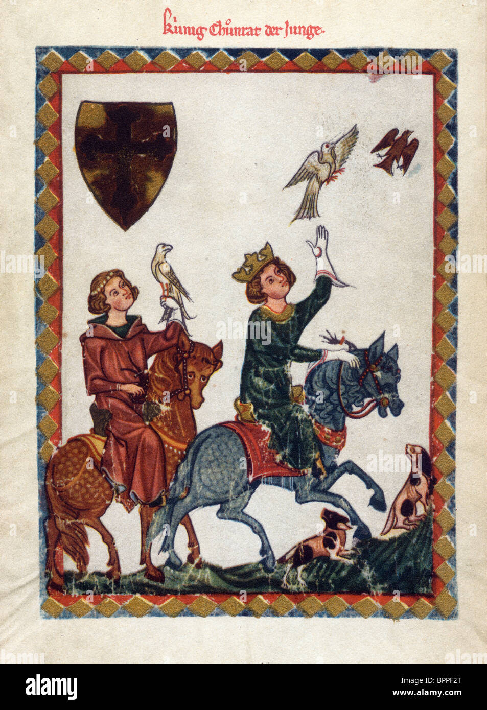 Illumination from the 14th Century Codex Manesse; Conradin the Younger with Fredric of Baden Hawking - Stock Image