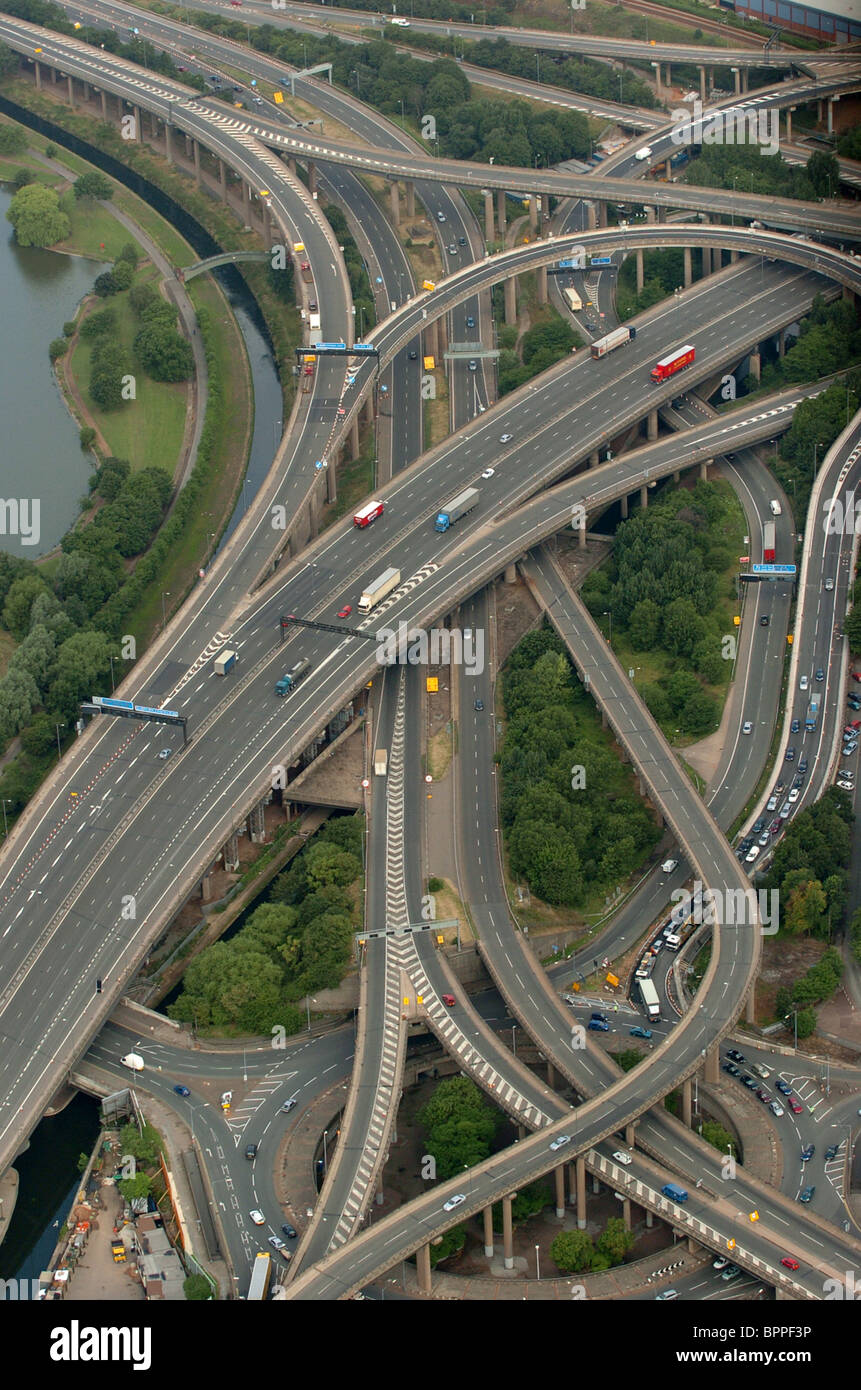 aerial view of spaghetti junction on the m6 motorway birmingham stock photo  31227610