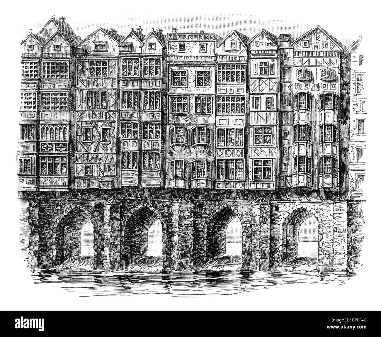 Black and White Illustration; The Old Bridge in Bristol over the Floating Harbour, lined with houses up to seven Stock Photo