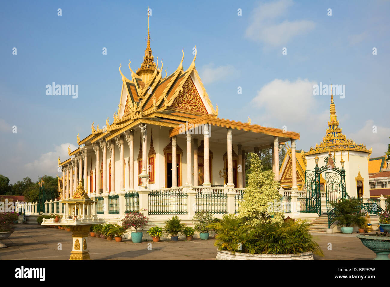 Wat Preah Keo Morokat is also known as the 'Silver Pagoda' the 'Temple of the Emerald Buddha.' located in Phnom - Stock Image