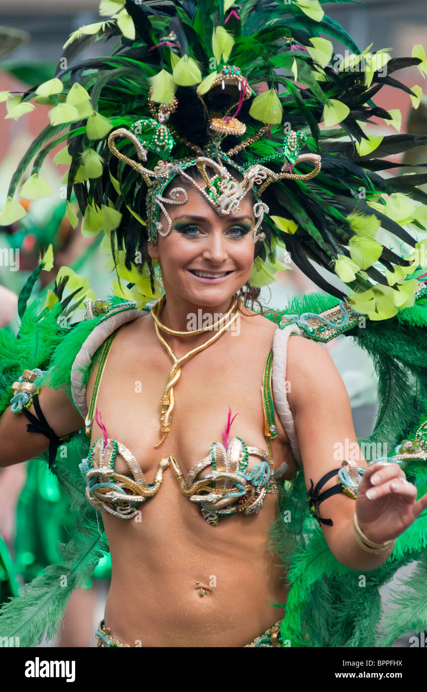 A showgirl at the Notting Hill Carnival (2010) in London, England. - Stock Image