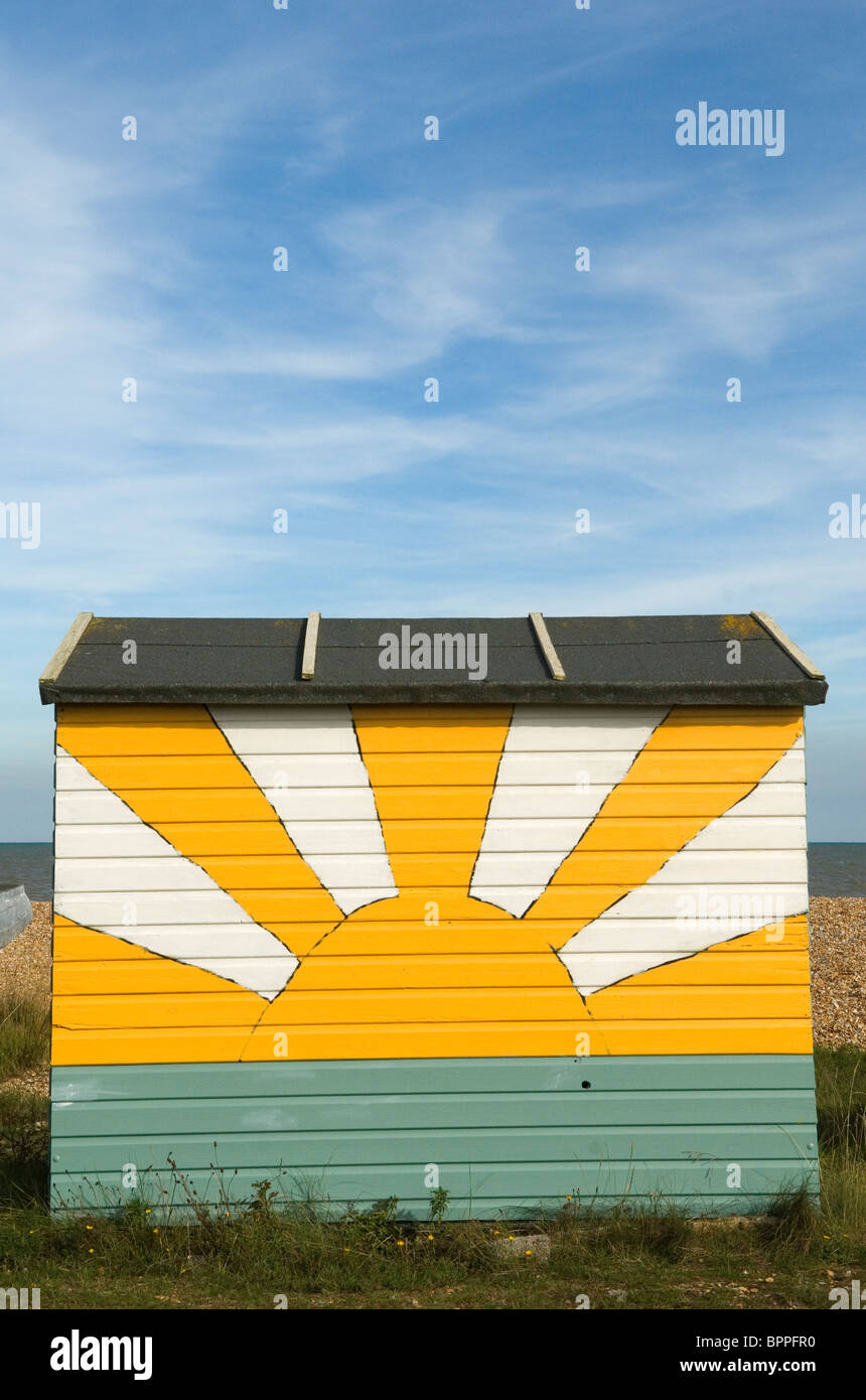 Beach Huts. Littleton on Sea, Kent. English Sunrise motif UK  HOMER SYKES - Stock Image