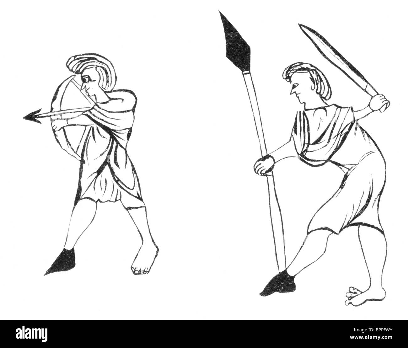 Black and White Illustration; Welsh Soldiers; Thirteenth Century; from the Chapter House Liber Albus Stock Photo