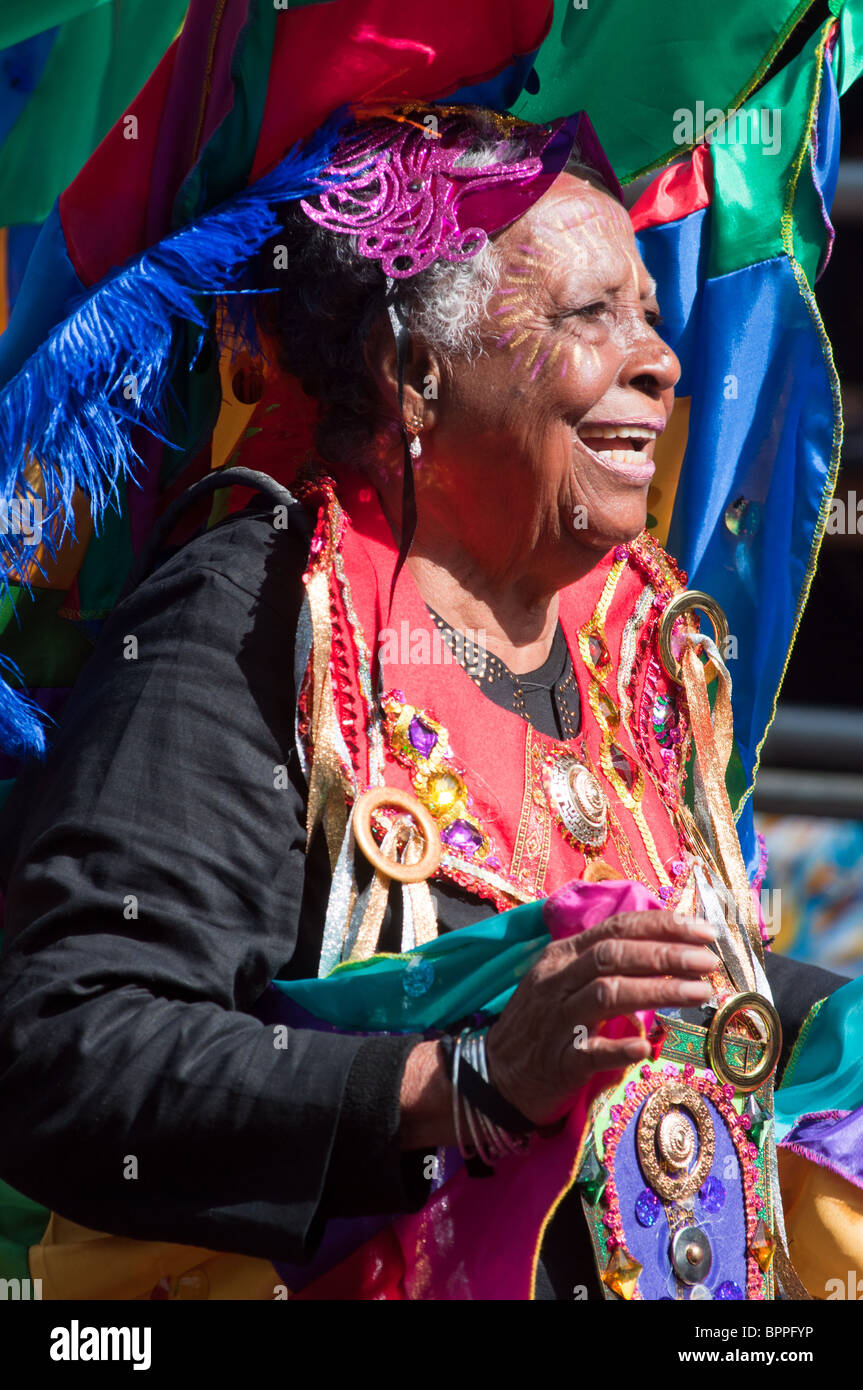 Colourful old lady Notting Hill Carnival (2010), London - Stock Image