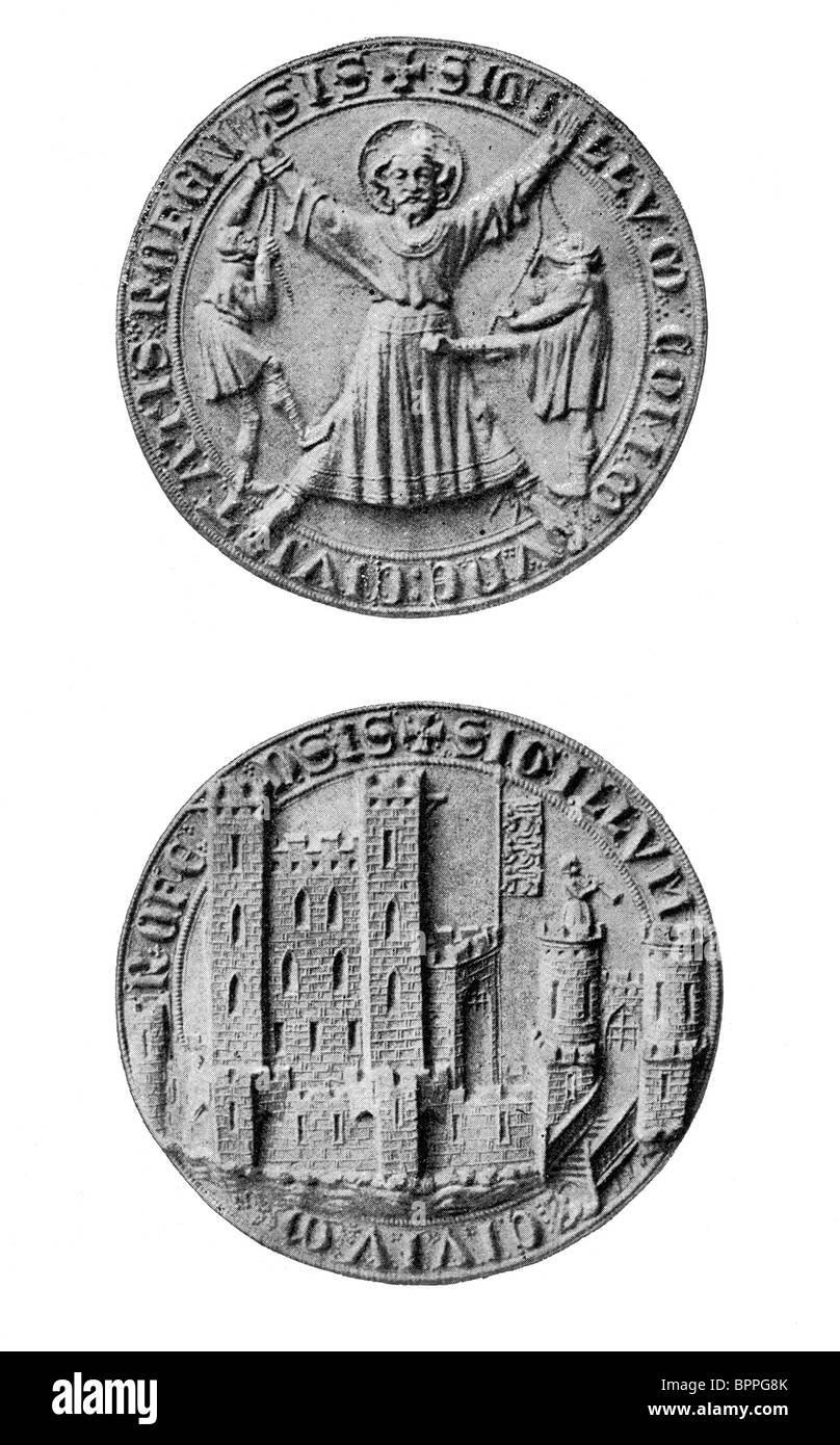 Black and White Illustration; The Seal of Rochester, Kent Stock Photo