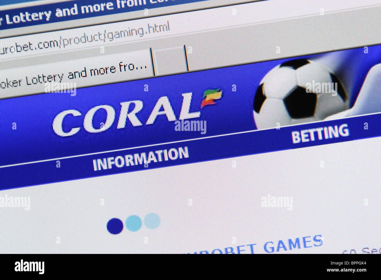 Coral sports betting poker lottery gambling - Stock Image