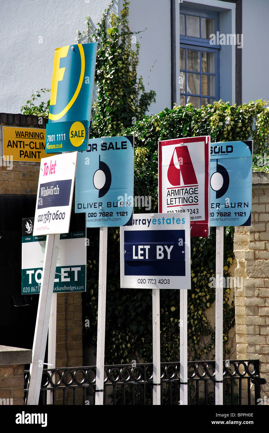 For sale and To let signs, Stockwell, London Borough of Lambeth, Greater London, England, United Kingdom - Stock Image