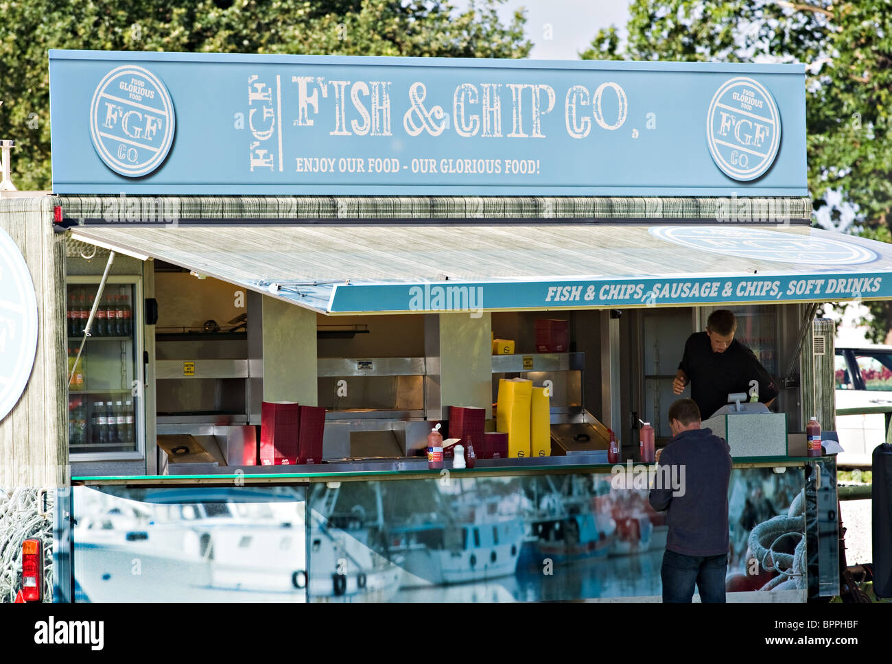 Fish and Chip Catering Food Stall at Oulton Park Motor Racing Circuit Cheshire England United Kingdom UK - Stock Image