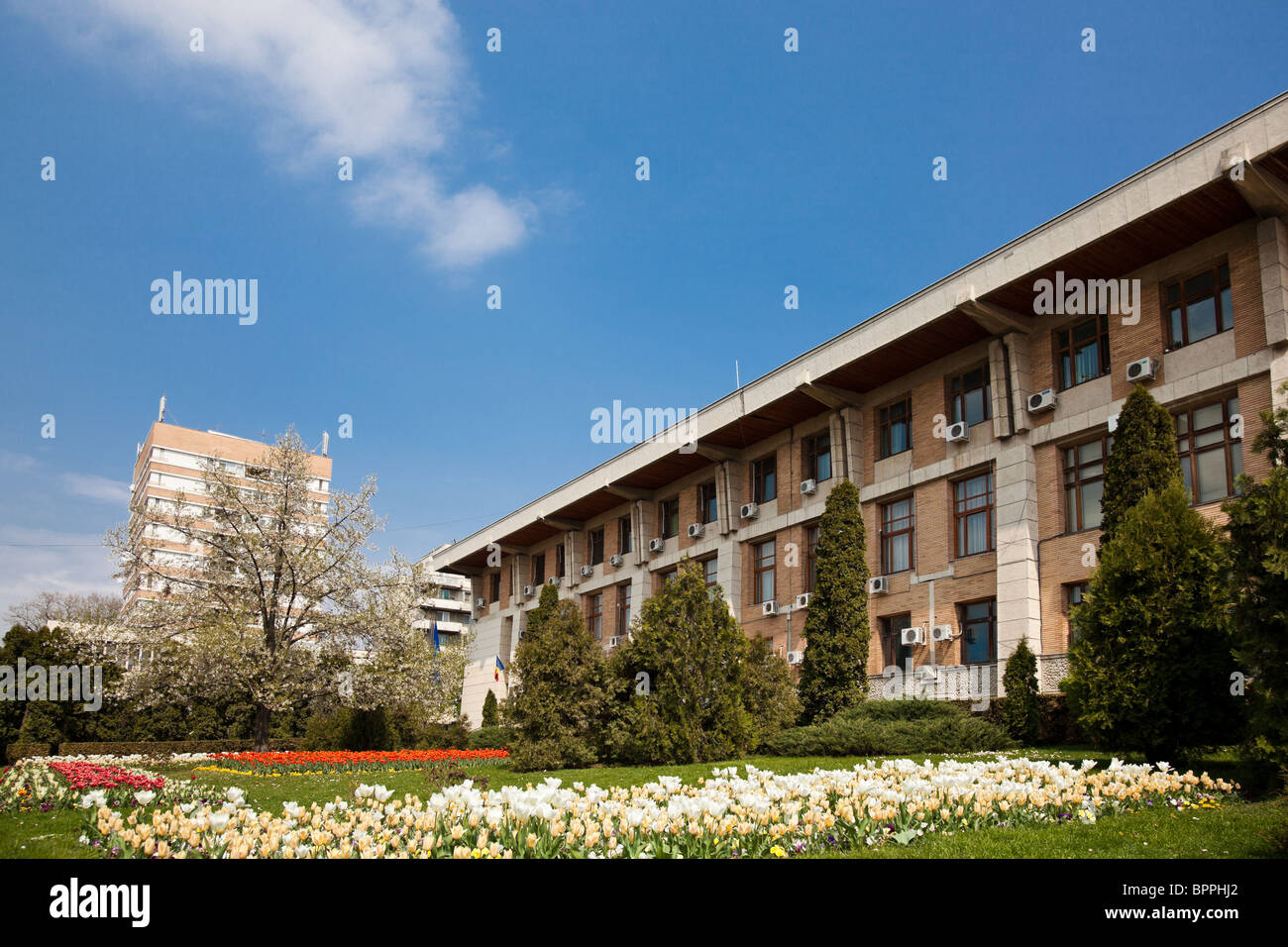 The Prefecture building in Iasi city, Romania, in spring. - Stock Image