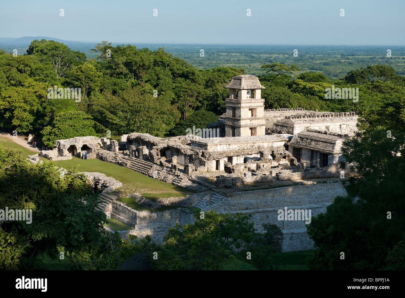 Maya ruins of Palenque, The Palace, Palenque, Mexico - Stock Image