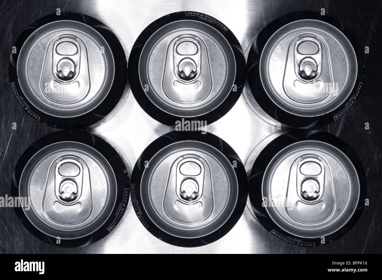 Six pack of Aluminum cans - Stock Image