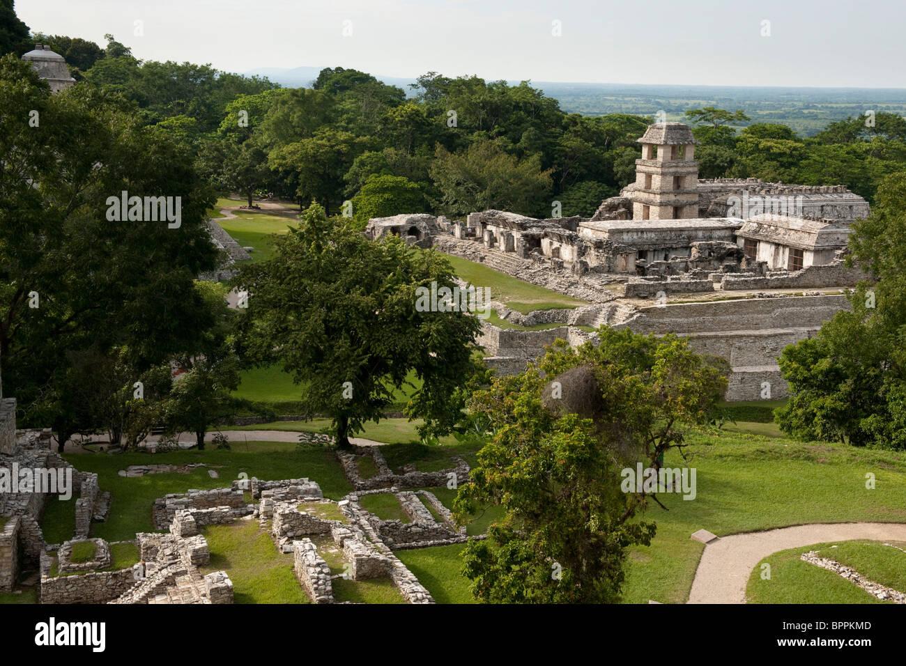 The Palace, Maya ruins of Palenque, Mexico - Stock Image