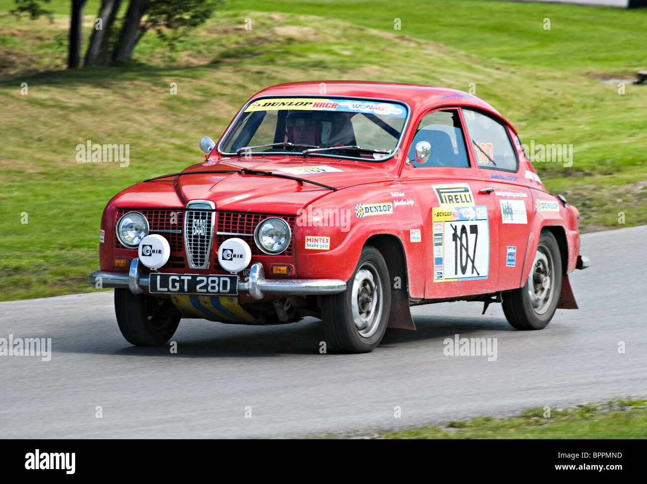 Saab 96 Rally Car on Rally Track at Oulton Park Motor Racing Circuit ...