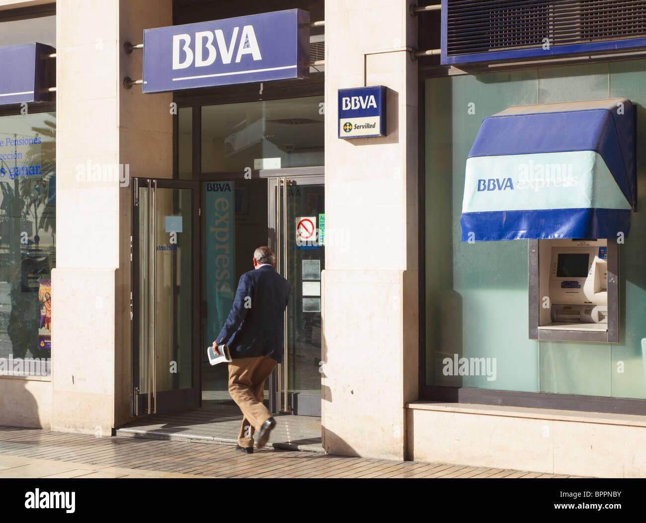 Branch of the BBVA bank in Malaga, Malaga Province, Spain. - Stock Image