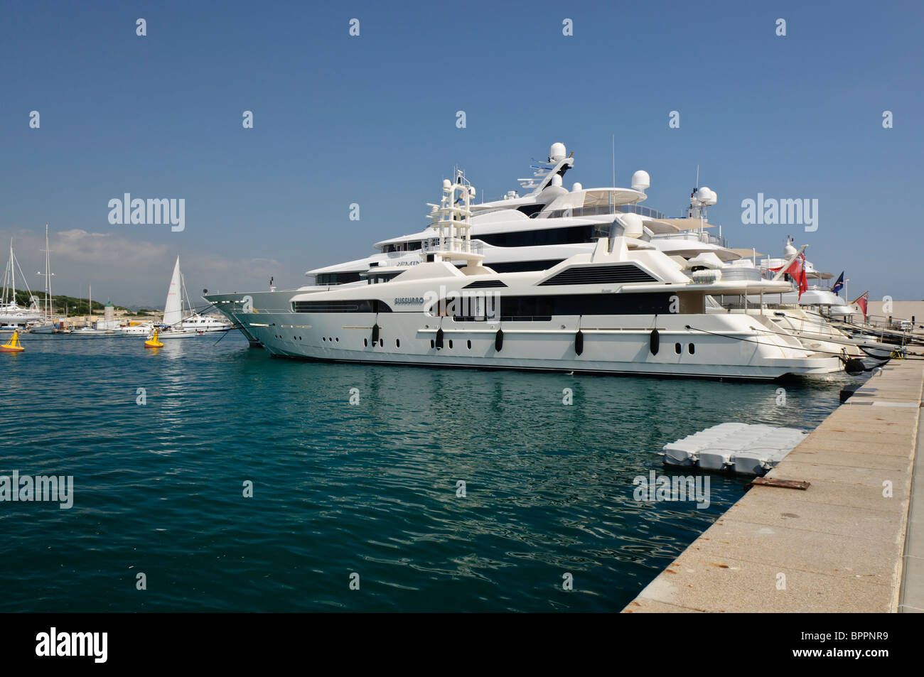 Superyacht 'Sussurro' moored at the marina in Antibes, France - Stock Image