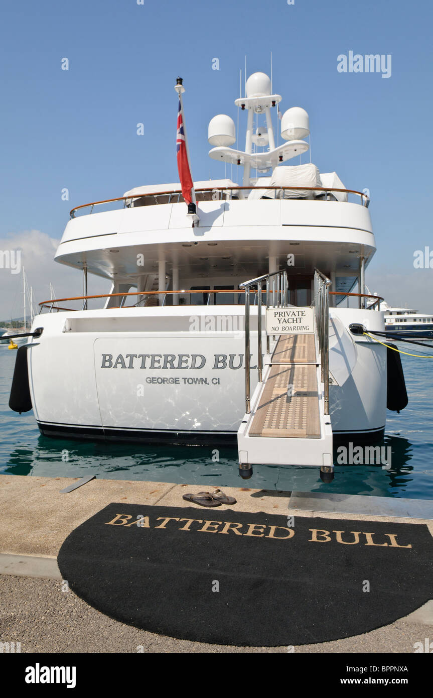Superyacht Battered Bull moored at the marina in Antibes, France Stock Photo