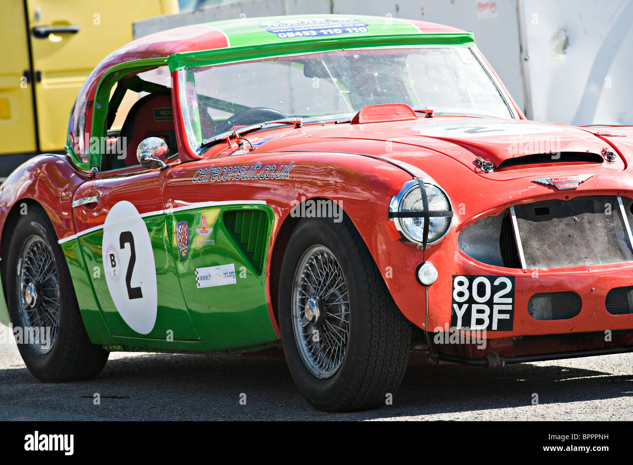 Austin Healey 3000 Historic Racing Car in the Paddock at Oulton Park Motor Racing Circuit Cheshire England United - Stock Image