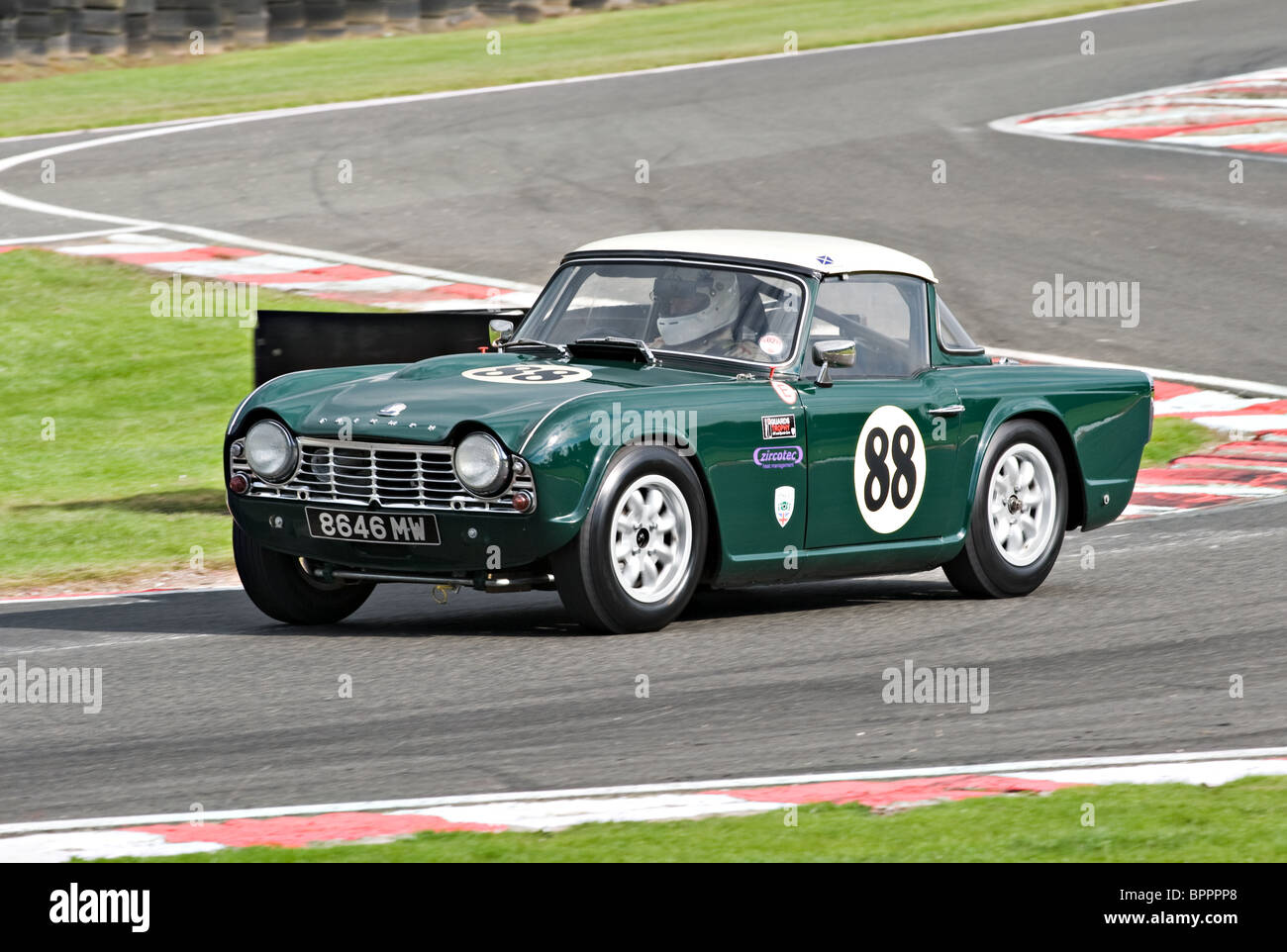 Triumph Tr4 Race Car Negotiates Brittens At Oulton Park Motor Racing