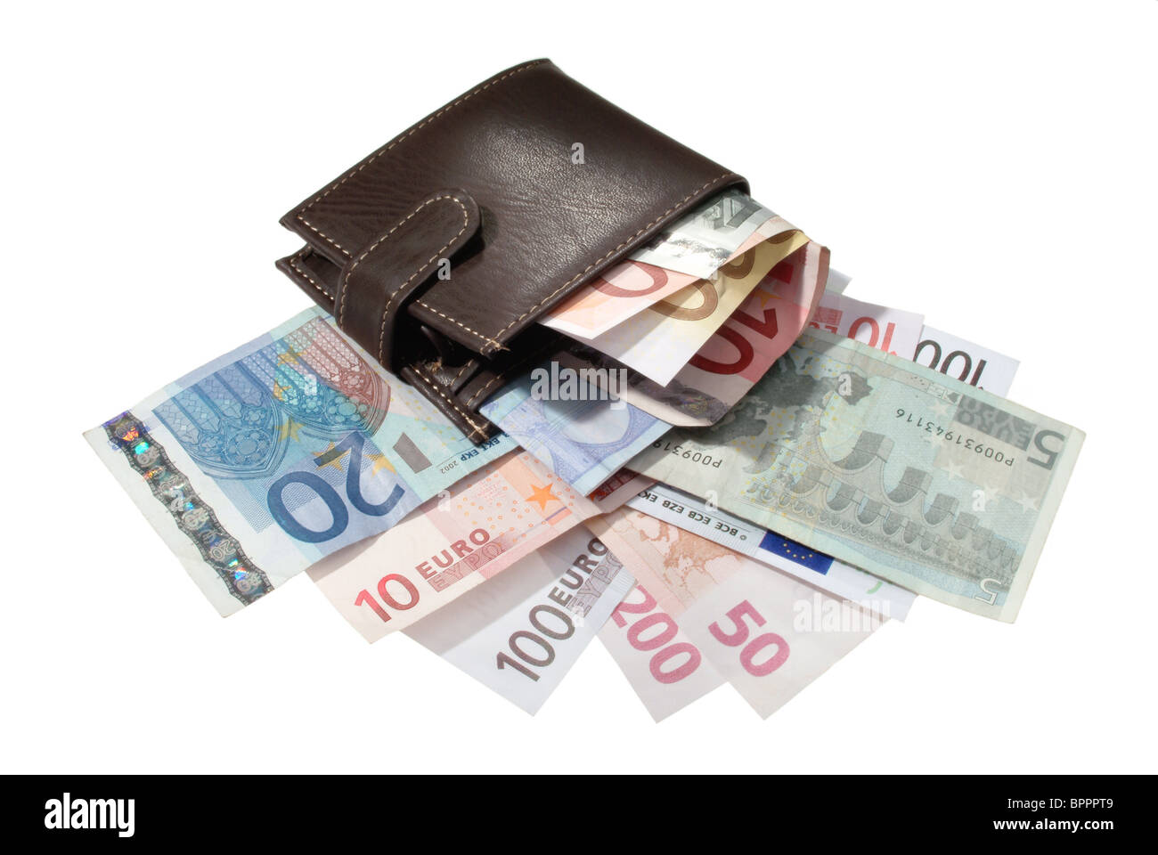 A wallet well lined with Euro banknotes - Stock Image