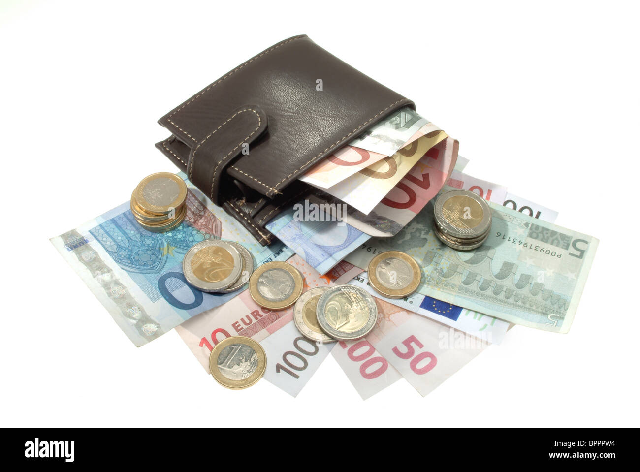 A wallet well lined with Euro banknotes and lying coins - Stock Image