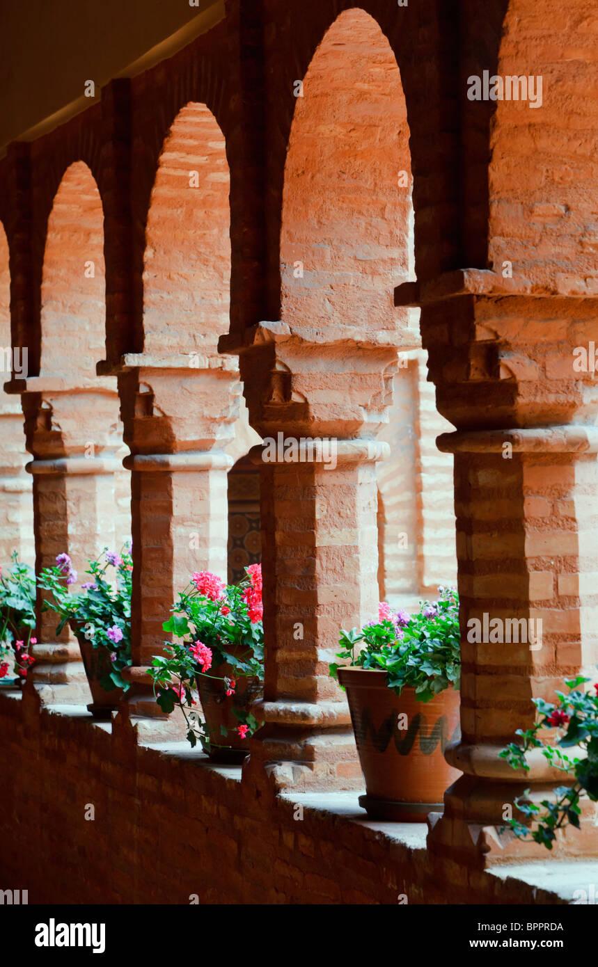 The cloister in the Mudejar style at La Rabida Monastery, Palos de la Frontera, Huelva Province, Spain - Stock Image