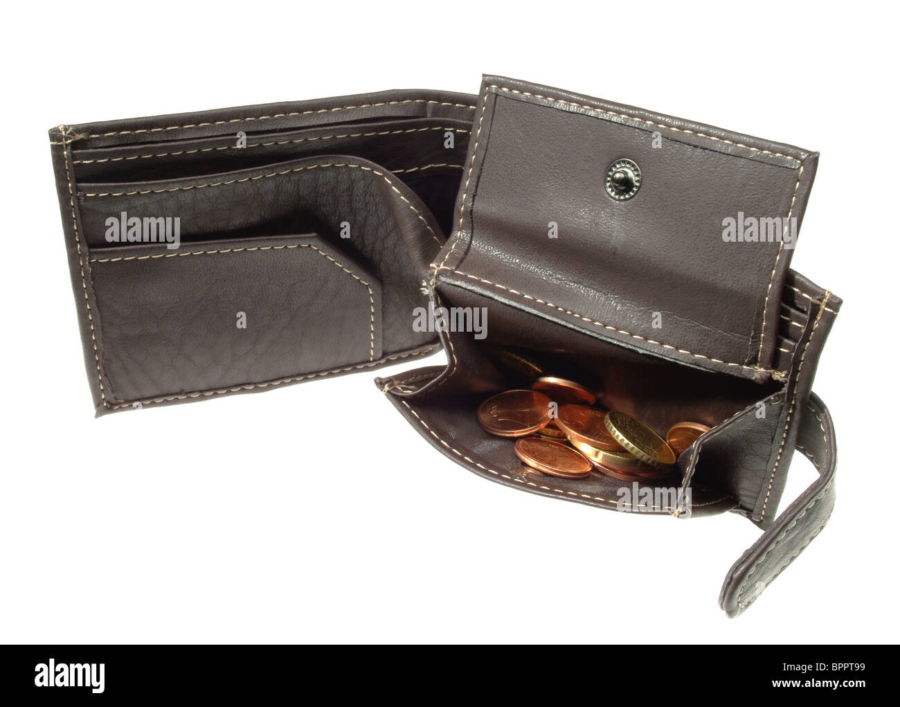 A wallet with few Euro cents - Stock Image