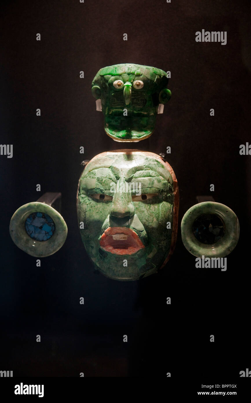 Jade funeral mask, Fuerte San Miguel Museum, Campeche, the Yucatan, Mexico - Stock Image