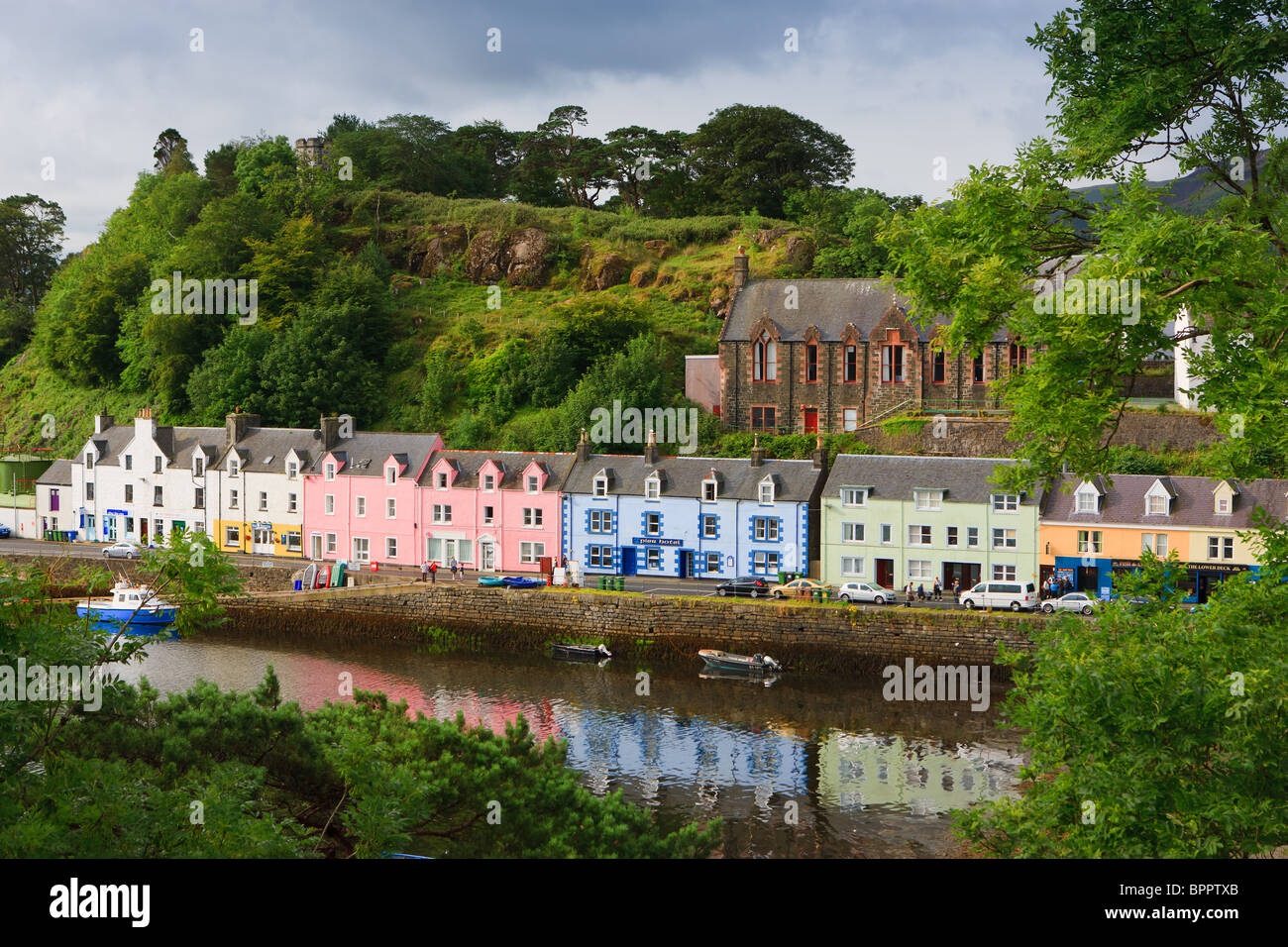 Colourful houses in the harbour of Portree on the Isle of Skye, Scotland - Stock Image