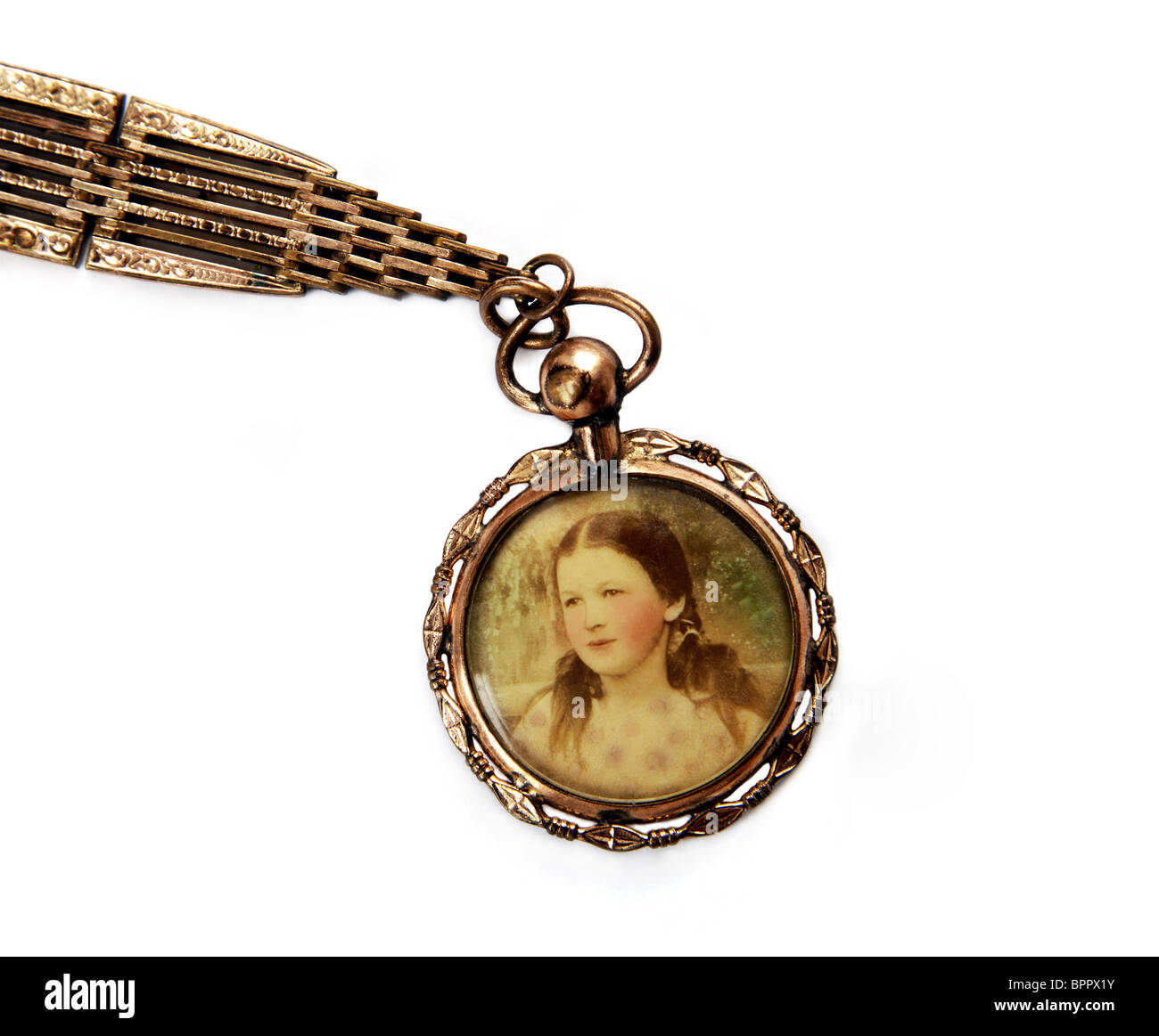 Antique locket with portrait of little girl, isolated on white background. Czech Republic, 1918. - Stock Image