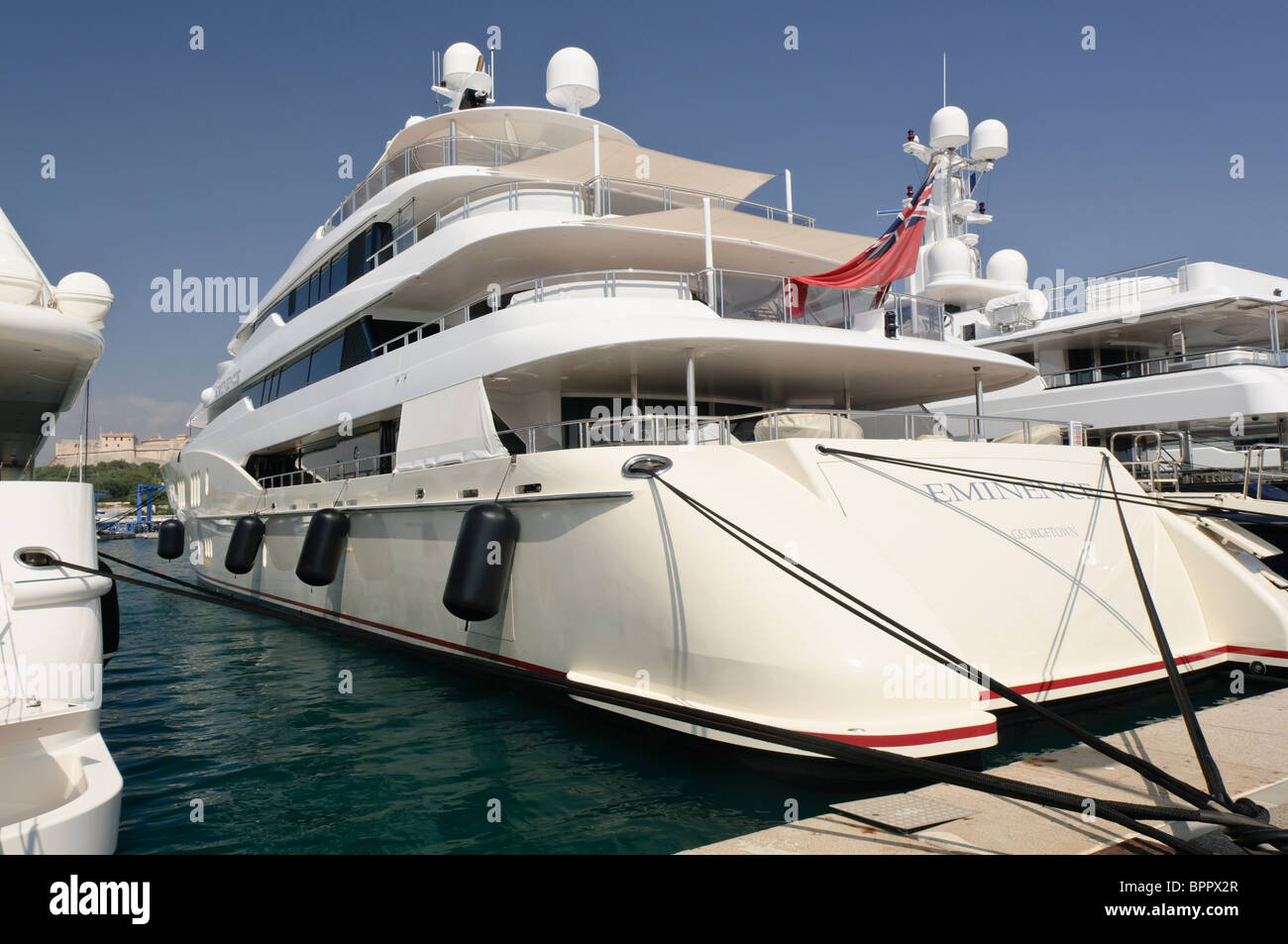 Superyacht 'Eminence' moored at the marina in Antibes, France - Stock Image