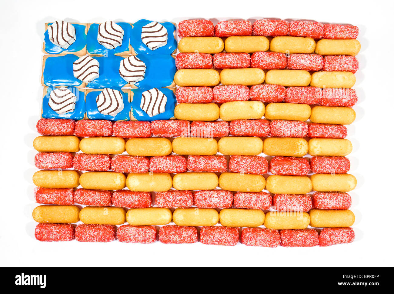 A American Flag made of junk food items including Twinkies, Zingers and Pop Tarts.  Stock Photo
