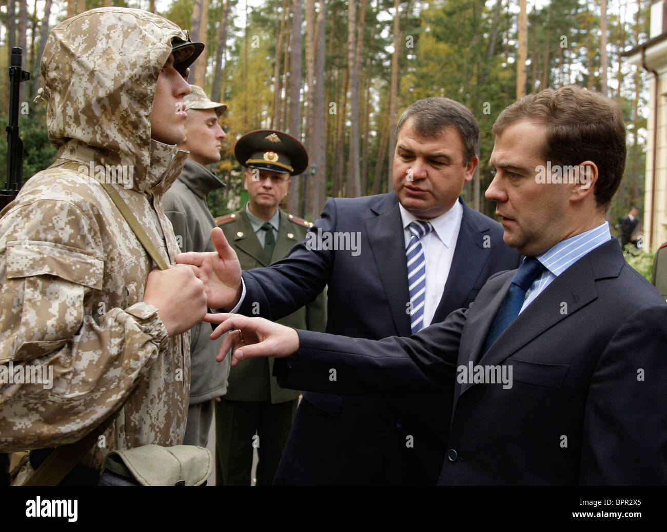 Medvedev inspects outfit for Russian servicemen - Stock Image
