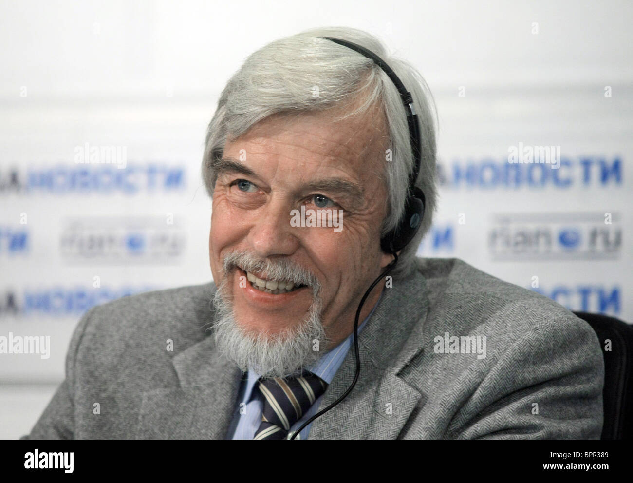 CERN Director General Rolf-Dieter Heuer holds news conference - Stock Image