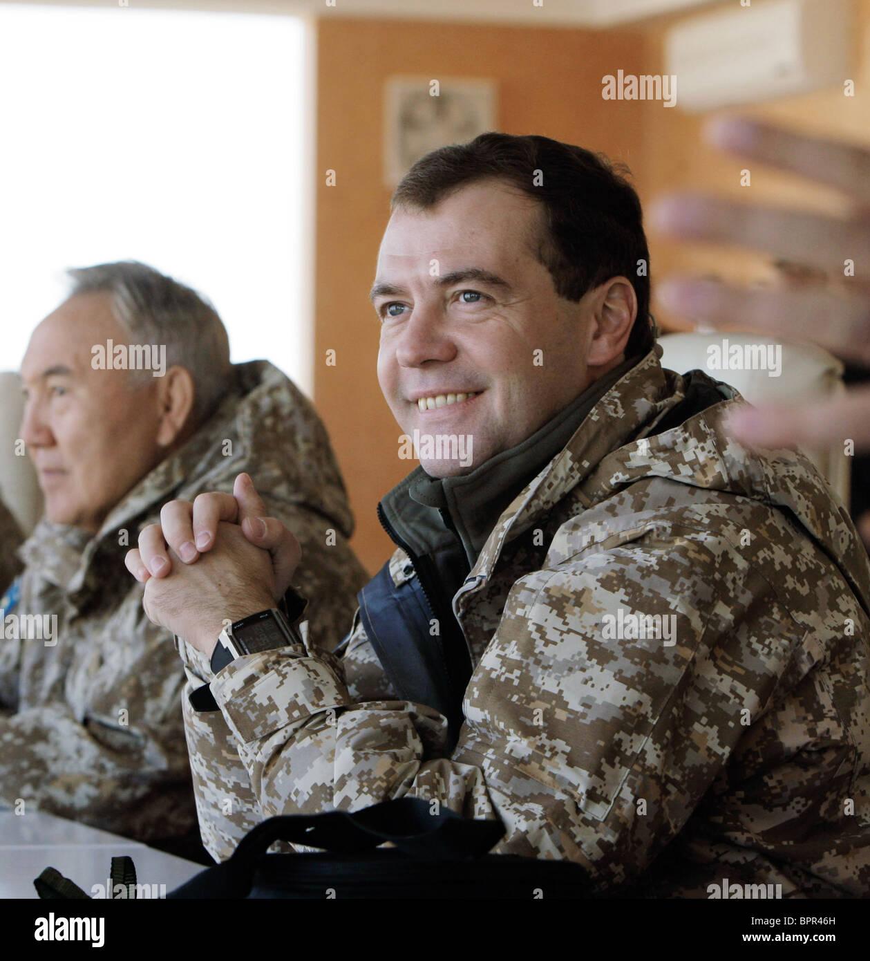 Medvedev arrives in Kazakhstan to observe CSTO exercise - Stock Image