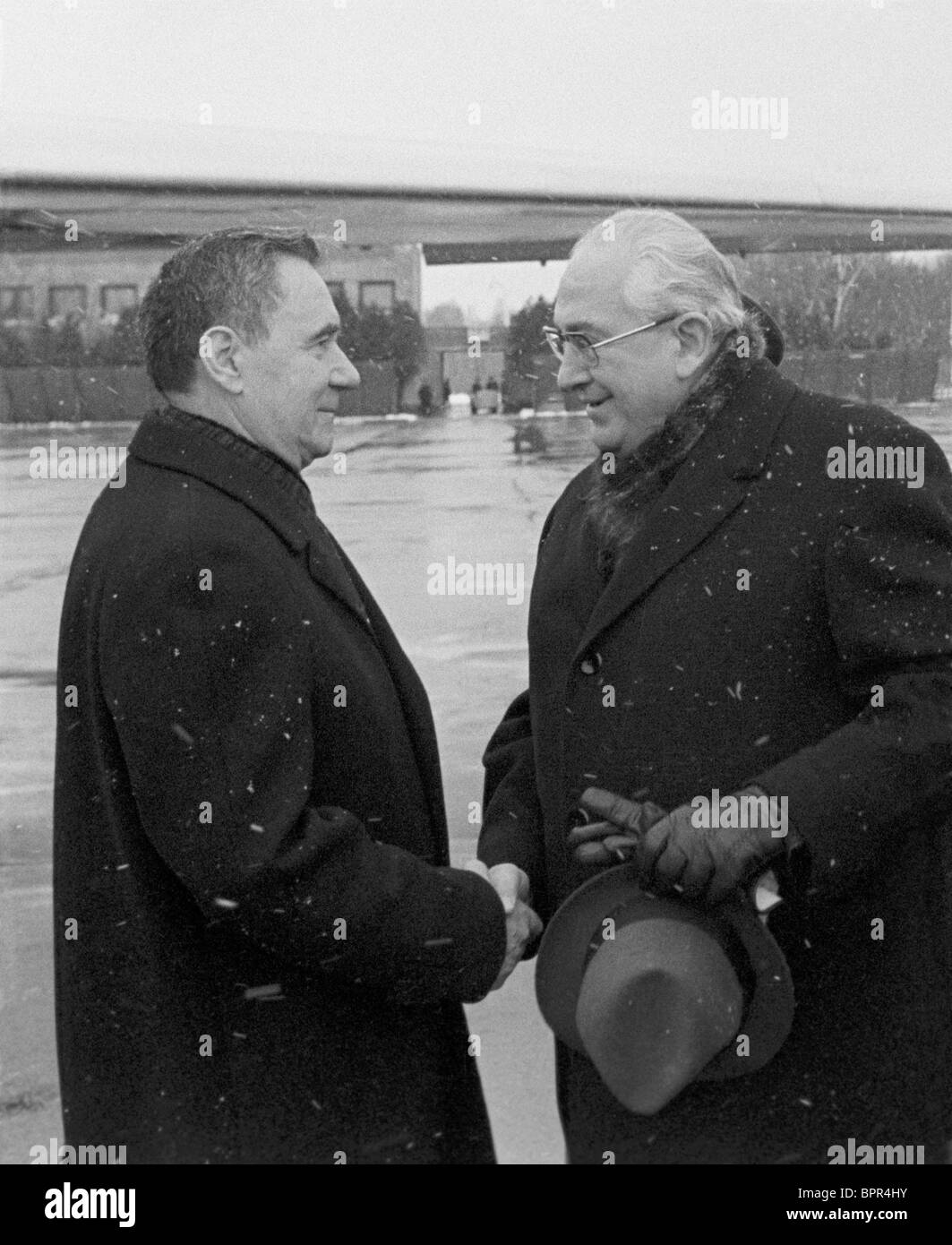 Andrei Gromyko and Yuri Andropov in airport, 1979 - Stock Image