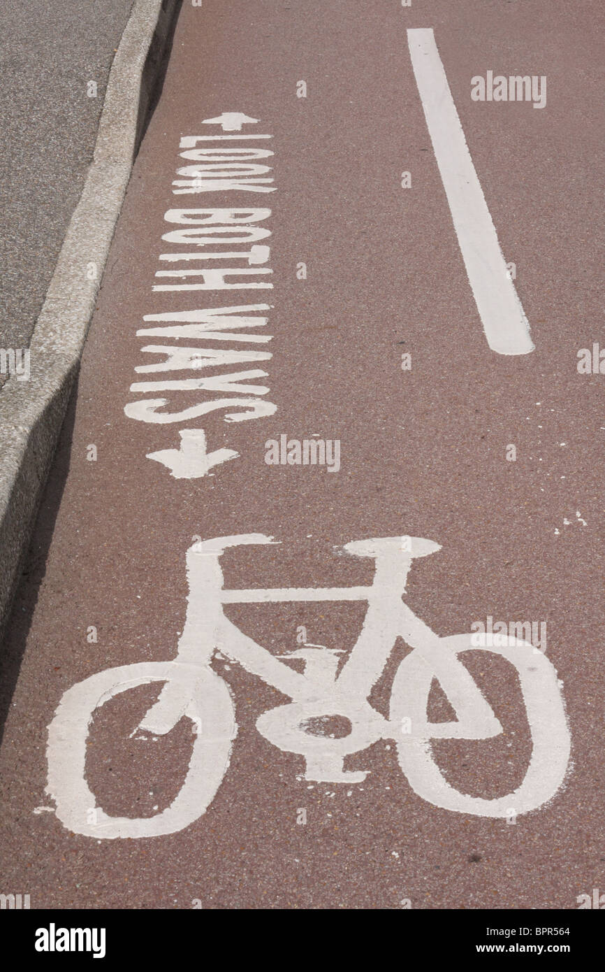 A cycle lane in a U.K. town. - Stock Image
